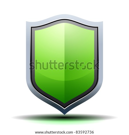 Green shield icon - stock vector
