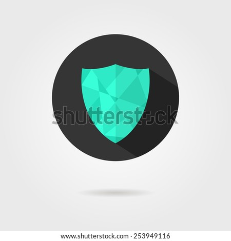 green shield icon on black circle with shadow. concept of defense, safety icon, crest shield, antivirus annex. isolated on grey background. flat style trendy modern logotype design vector illustration - stock vector