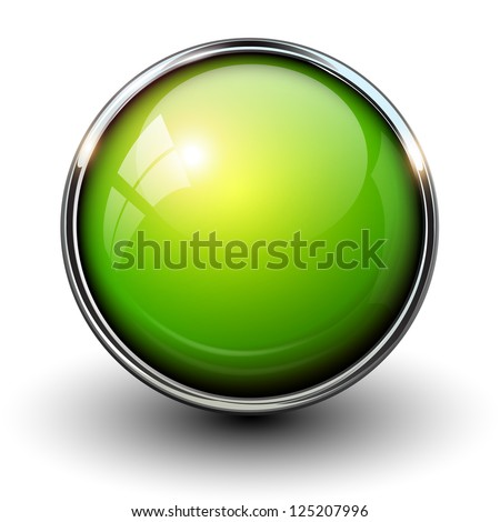 Green shiny button with metallic elements, vector design for website. - stock vector