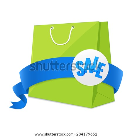 Green shopping bag with blue ribbon and sale label. Colorful detailed Vector illustration.  Sale tag. Concept of sale sign.  - stock vector