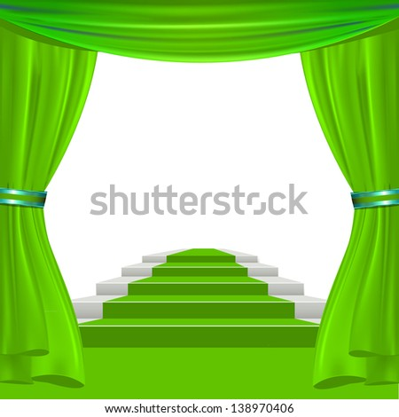 green show theater curtain to place your concept or object - stock vector