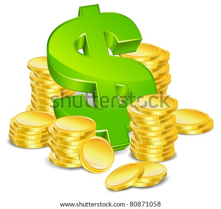 green sign dollar and gold coin on white background isolated vector illustration - stock vector