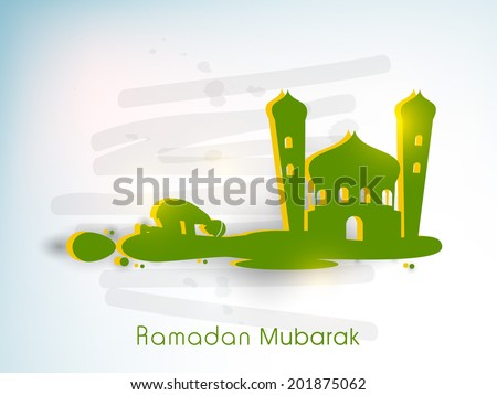 Green silhouette of a Muslim man praying in front of green mosque on blue background for the celebrations of Muslim community holy month of Ramadan Mubarak.  - stock vector