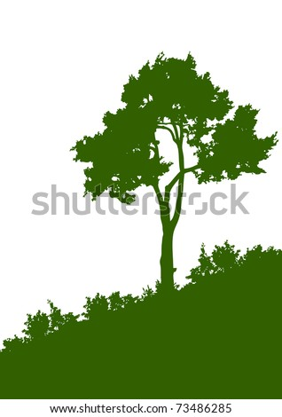 Green silhouette of a tree on the white background - stock vector