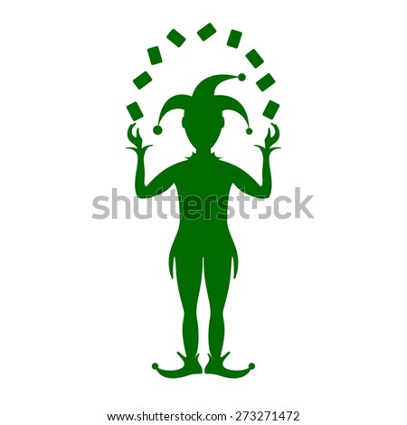 Green silhouette of Joker playing with cards  - stock vector