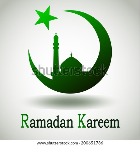Green silhouette of Mosque or Masjid on moon with stars on abstract white background, concept for Muslim community holy month Ramadan Kareem or Ramazan Kareem. - stock vector