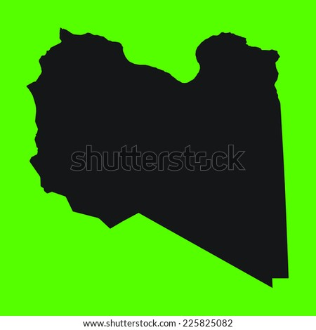 Green Silhouette of the Country Libya