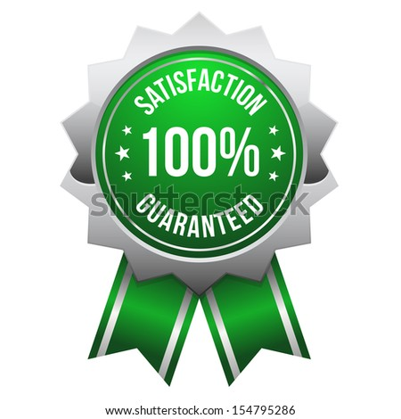 Green silver hundred percent satisfaction badge - stock vector