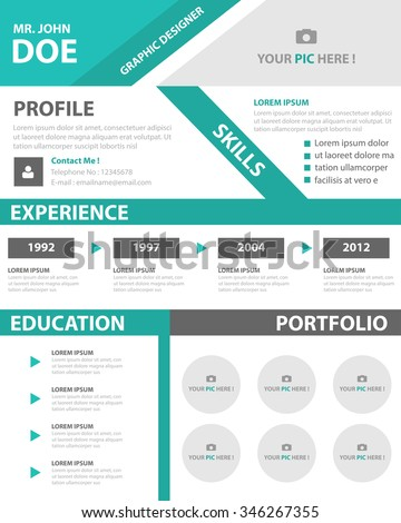 green smart resume cv template layout for job application
