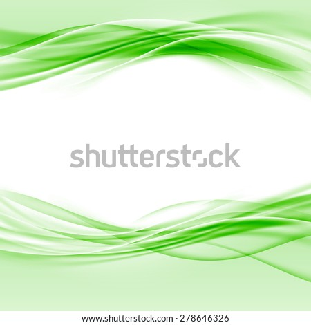 Green smooth swoosh eco border abstract layout. Vector illustration - stock vector