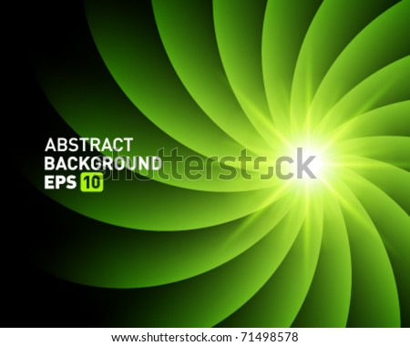 Green smooth twist light lines vector background - stock vector