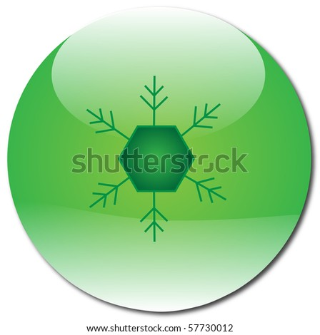 Green Snowflake Orb - stock vector