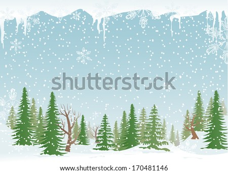 Green, snowy forest with fir-trees and snowflakes. - stock vector
