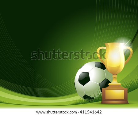 Green Soccer background with ball and trophy - stock vector