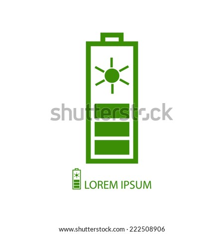 Green solar battery  as logo with copyspace on white background - stock vector