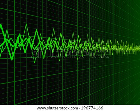 Green soundwave over fading oscilloscope graph background vector illustration  - stock vector