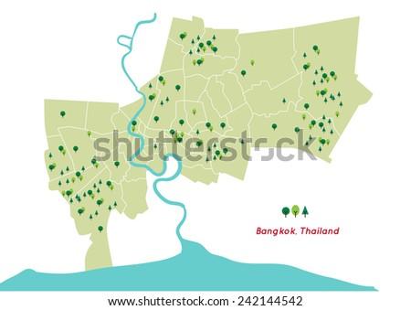 Green Space Bangkok Country Thailand Map Stock Vector (Royalty Free ...
