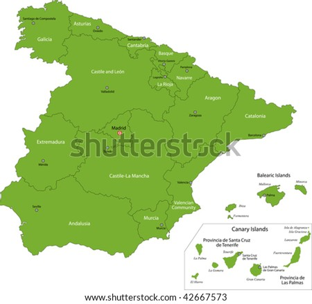 Green Spain map with regions - stock vector