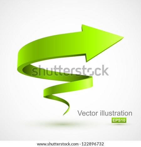 Green spiral arrow 3D. - stock vector