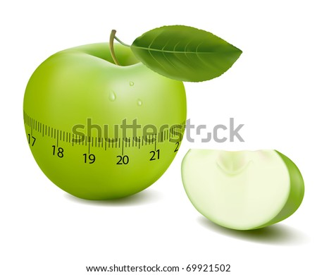 Green sports apple. Vector.