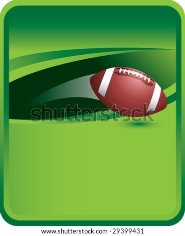 green sports message board with thrown american football - stock vector