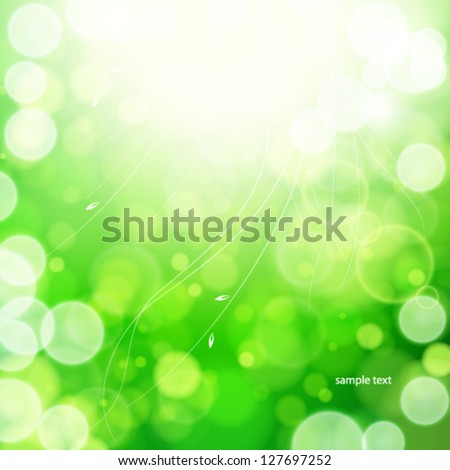 Green spring abstract nature background. - stock vector