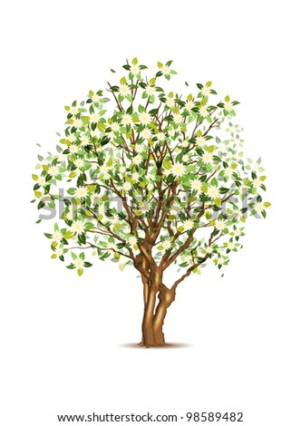Green spring apple tree, vector illustration, eps10, three layers, easy editable - stock vector