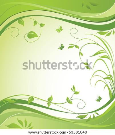 Green spring banner - stock vector