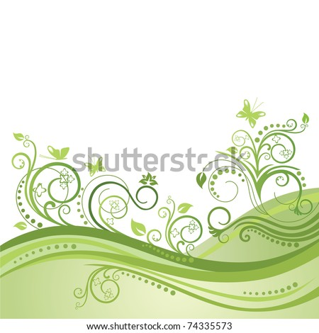 Green spring field, flowers and butterflies - stock vector
