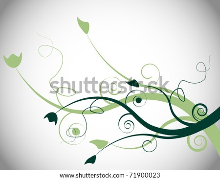Green Spring Floral Background - stock vector