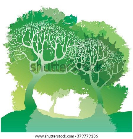 Green spring trees - vector forest illustration in watercolor style. Creative artistic concept - hand drawn spring park. Green color splashes, blotch and white branches tree silhouettes. Eco, summer. - stock vector