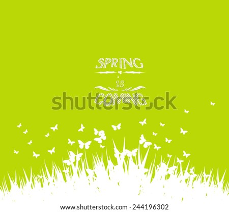 Green spring with coming soon floral - stock vector