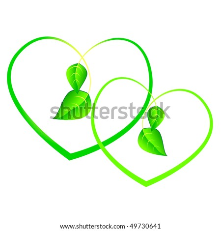 Green sprouts in shape of heart isolated on white background. - stock vector