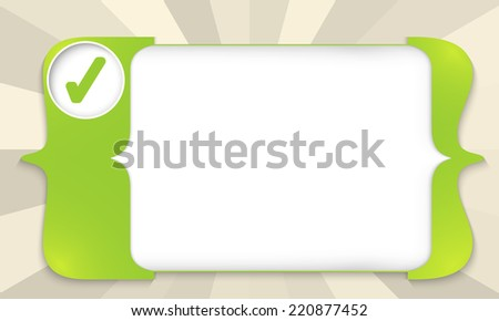 green square brackets for entering text with check box - stock vector