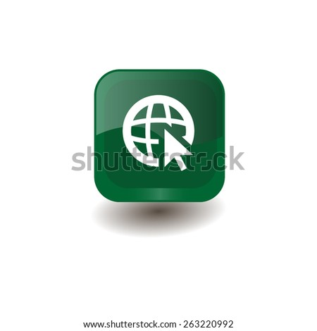 Green square button with white globe (go to web) sign, vector design for website  - stock vector