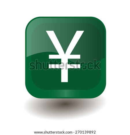 Green square button with white yuan, yen sign, vector design for website - stock vector