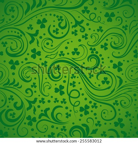 Green St. Patrick's day background with floral swirls and clover leaves. - stock vector