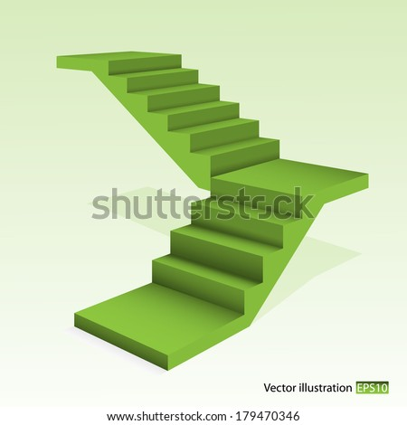 Green stair. - stock vector