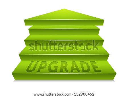 Green staircase pointed upward, ending at an arrow point. Text reading upgrade embedded in the bottom step. Labeled Global Color Swatches for ultra simple color editing! EPS 10 Vector. - stock vector
