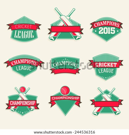 Green sticker, tag or label design with red ribbon for Cricket sports concept. - stock vector