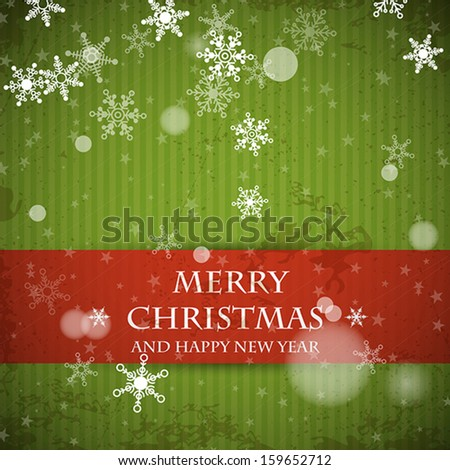 green striped retro christmas card with falling snowflakes. christmas concept - stock vector