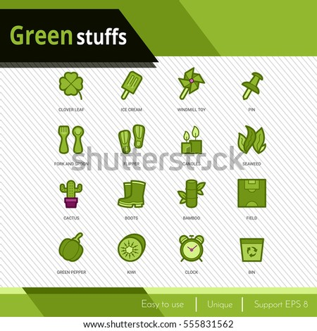 Green stuffs vector icons set on white background.  Premium quality outline symbol  collection. Stroke vector logo concept, web graphics.