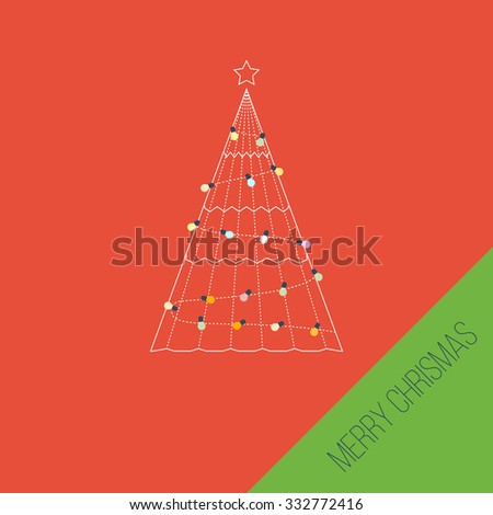 Green stylized carcass tree with a star and light bulbs. Happy New Year. Cute invitation card with winter city life and space for text. Merry Christmas greeting card design. Vector illustration - stock vector