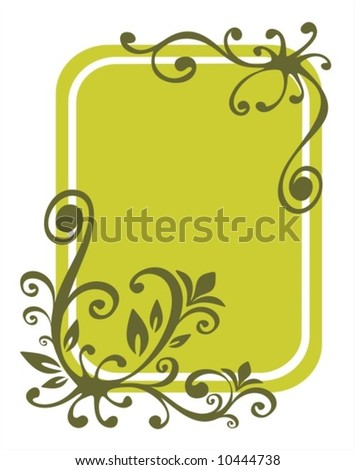 Green stylized floral pattern on a green background.