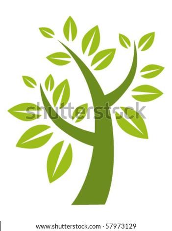green stylized tree - stock vector