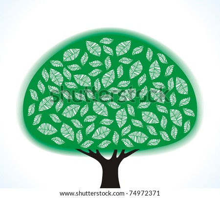 green stylized tree on a white background - stock vector