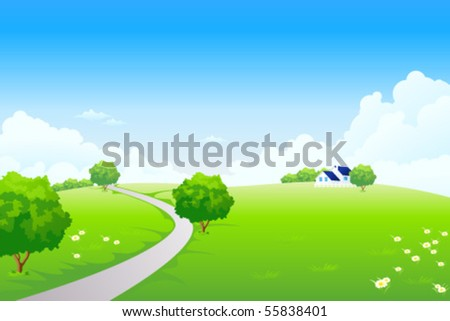 Green Summer Landscape Scene with Hills, Trees, Road, Houses and Flowers. Beautiful Blue Sky with Clouds in the Background. Can be used as backdrop, poster, card, template. Vector illustration.