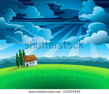 Green summer landscape with flourishing meadow, house and mountains on a cloudy sky - stock vector