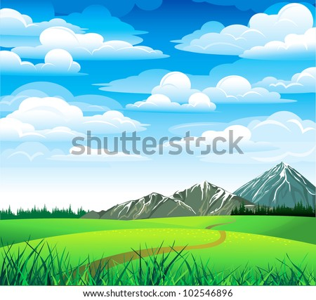 Green summer landscape with meadow, forest and mountains on a blue cloudy sky - stock vector