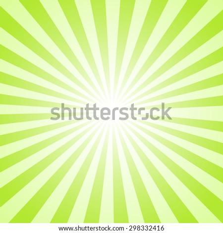 Green Sunburst  background. Vector illustration - stock vector